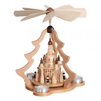 laubner pyramide dresdner frauenkirche f r 3 teelichter erzgebirge weihnachten. Black Bedroom Furniture Sets. Home Design Ideas