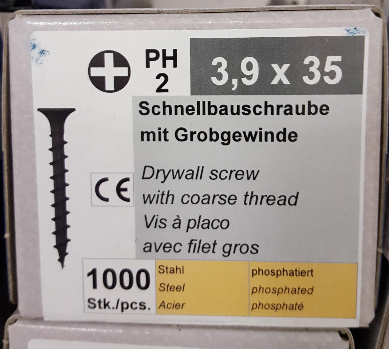 Schnellbauschrauben 3,9 x 35 mm Grobgewinde 1000 Stück